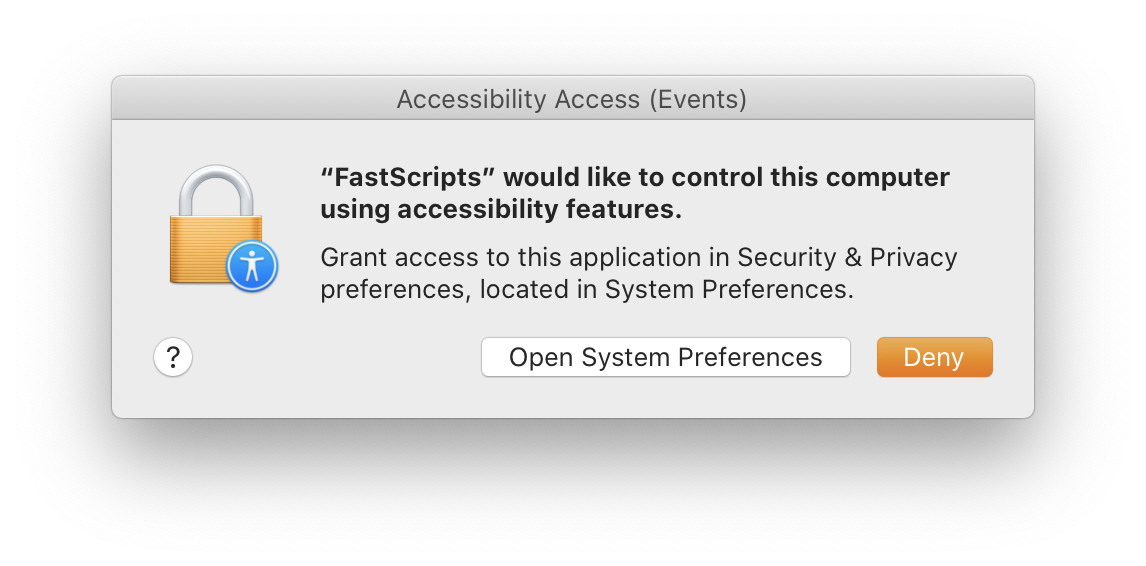 Security prompt asking for permission to allow accessibility features