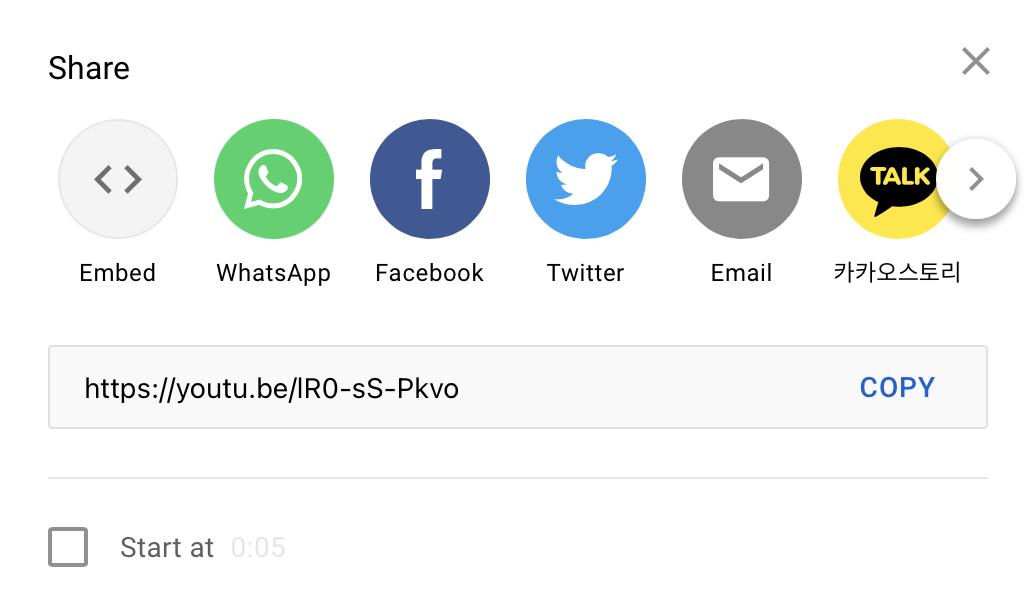 Screenshot of YouTube's video-sharing options
