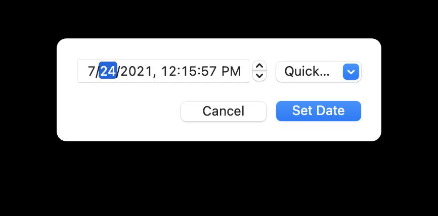 screenshot of date setting panel in MarsEdit